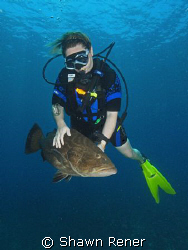 Diver with very friendly Grouper.